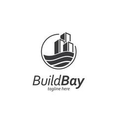 Building with water symbol logo design vector
