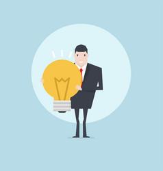 businessman holding light bulb vector image