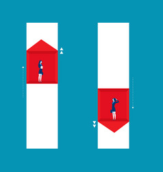 businesswoman raise and fall of business concept vector image