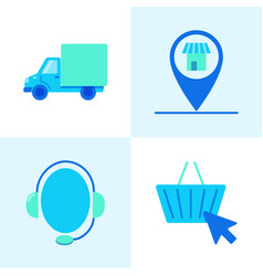 Buying online icon set in flat style vector