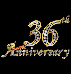Celebrating 36th anniversary golden sign vector