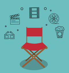 cinema director chair with icons vector image