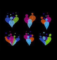 Colorful people party silhouettes of transparent vector