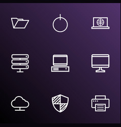 computer icons line style set with internet print vector image