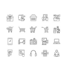 Consumerism line icons signs set outline vector