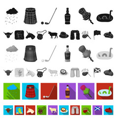 country scotland flat icons in set collection for vector image