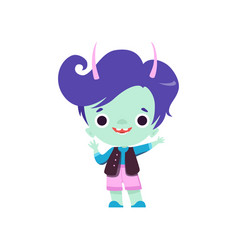 Cute horned troll boy adorable smiling fantasy vector