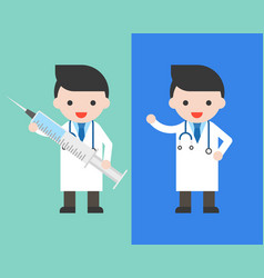 doctor in gown with big injection needle vector image