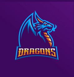 Dragon mascot logo design with modern vector