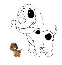 educational game for kids and coloring book-dog vector image
