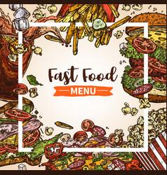 fast food sketch hand drawn menu vector image