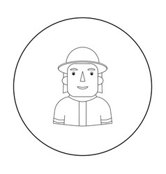 Firefighter icon in outline style isolated on vector
