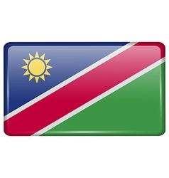 Flags Namibia in the form of a magnet on vector