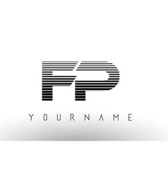 fp f p black and white horizontal stripes letter vector image