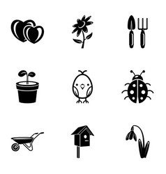 front garden icons set simple style vector image