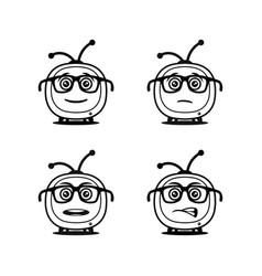 funny tv symbols in glasses - icons vector image