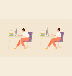 Girl with correct and incorrect posture vector