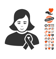 Girl with sympathy ribbon icon with dating bonus vector