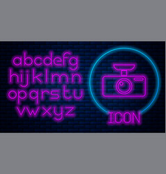 Glowing neon car dvr icon isolated on brick wall vector