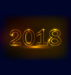 golden 2018 new years designneon lights effect vector image