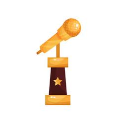 Golden retro microphone music award statuette vector