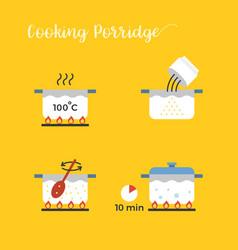 graphic info of cooking porridge in pot vector image