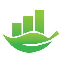 Green leaf economy bar logo design vector