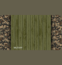 Green wooden plate on military camouflage pattern vector