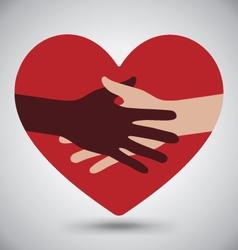 Handshake Helping Hands On Red Heart vector image