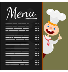 Happy chef at menu blackboard vector