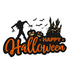 happy halloween background with creepy zombie cas vector image