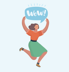 happy woman jumping celebrating success vector image