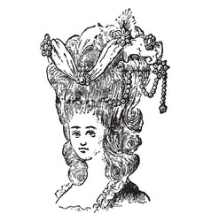 Head-dress forms of fashionable vintage engraving vector
