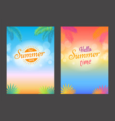 hello summer days promotional poster with text vector image