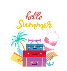 Hello summer hand drawn lettering travel vector