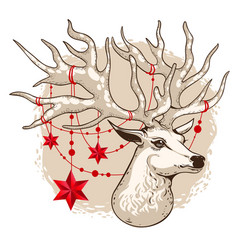 holiday card deer head with vector image