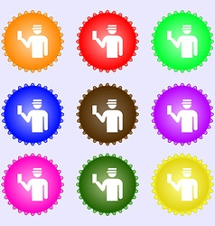 Inspector icon sign A set of nine different vector image