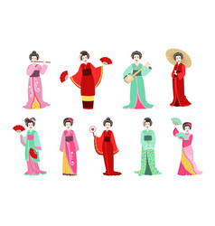 japanese geisha in different kimono set vector image