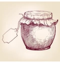 Jars of jam hand drawn llustration vector