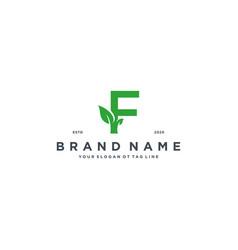 Leaf letter f logo design vector