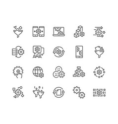 Line data processing icons vector