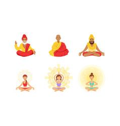 meditating people in yoga lotus poses set yogi vector image