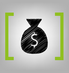 money bag sign black vector image