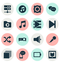 Music icons set with speaker playlist shuffle vector