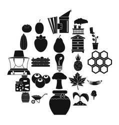 natural product icons set simple style vector image