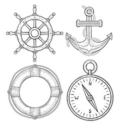 nautical hand drawn symbols anchor lifebuoy vector image