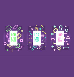 Neon frames with abstract geometric elements vector