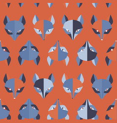 paper foxes red seamless pattern vector image