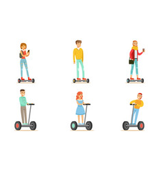 people riding self balancing scooters or vector image