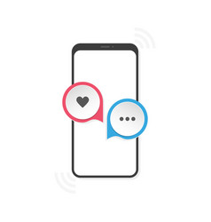 phone with icons hearth and message on a white vector image